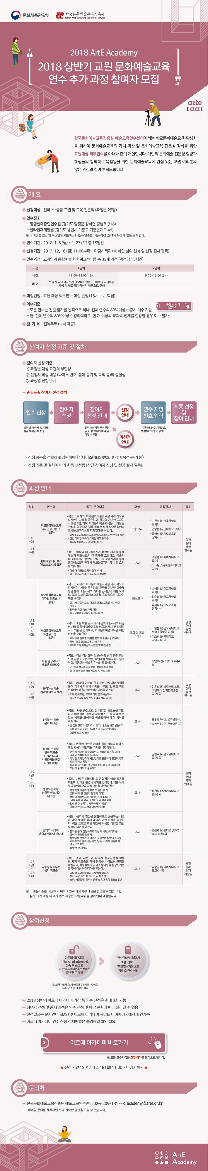 [한국문화예술교육진흥원] 2018 상반기 교원 문화예술교육 연수 추가 과정 참여자 모집이미지1
